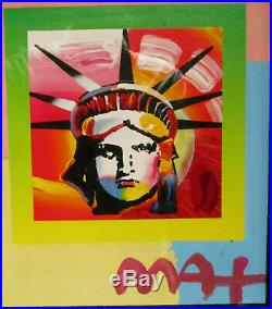 Peter Max Liberty Head II on Blends Americana Suite 2006 Mixed Media Signed COA