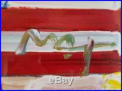 Peter Max Mixed Media Flag with Heart Acrylic Painting hand signed Original 9x12
