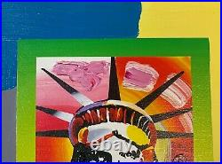 Peter Max Mixed Media with Acrylic Painting, Liberty Head II on Blends