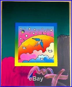 Peter Max Original Hand Signed Angel On Clouds #411 2009 Framed MIX Media
