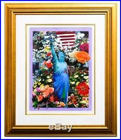 Peter Max Original Mixed Media Land of the Free Home of the Brave II COA