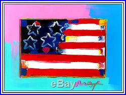 Peter Max Original Mixed Media Painting Flag With Heart Acrylic Signed Pop Art