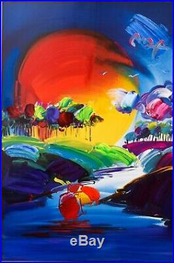 Peter Max-Original Mixed Media -Without Borders II 2008 #274 COA From Max Studio