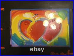 Peter Max Original Twin Two Hearts Art Mixed Media Painting