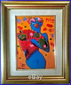 Peter Max Original, art ceramic, COA, pop art, nude woman, Fan Dancer, limited