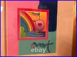 Peter Max Sailboat with Heart Mixed Media (Framed Original Painting)