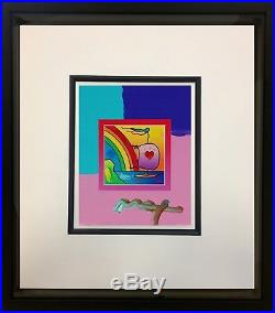 Peter Max, Sailboat with Heart on Blends 2007 #795 (Framed Original Painting)
