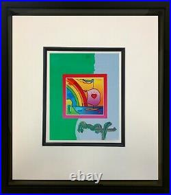 Peter Max, Sailboat with Heart on Blends 2007 #812 (Framed Original Painting)