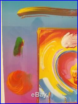 Peter Max Two Hearts On Blends Mixed Media Unique Acrylic on Lithograph Original