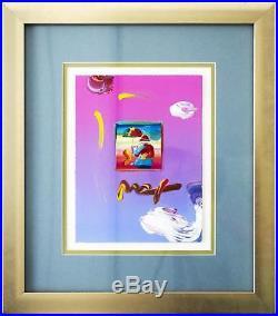 Peter Max- Umbrella Man 2008 Ver. I #5 Mixed Media Hand Signed Framed COA