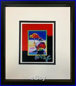 Peter Max, Umbrella Man on Blends 2007 #3004 (Framed Original Painting)
