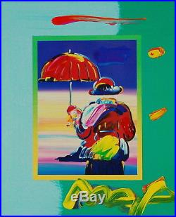Peter Max, Umbrella Man on Blends 2007 #3245 (Framed Original Painting)
