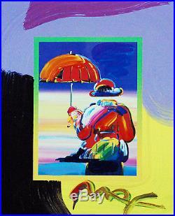 Peter Max, Umbrella Man on Blends 2007 #3268 (Framed Original Painting)