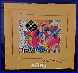 Peter Max Zero in Love Mixed Media on Paper Signed with COA