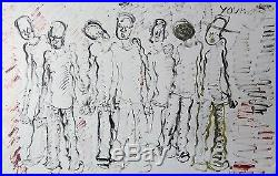 Purvis Young Seven Men Original On Board Large 28 X 44 Make An Offer