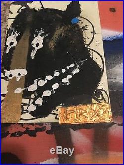 RAE-BK Original Mix Media On Plywood (rare) Bast, Dain, Banksy, Faile