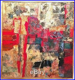 RALPH DUBIN 1919-1988 ABSTRACT MODERNIST 1980s MIXED MEDIA PAINTING COLLAGE