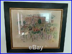 RAOUL DUFY 1950s MIX-MEDIA ASCOT LITHOGRAPH PRINT RARE HAND COLORED CUSTOM FRAME