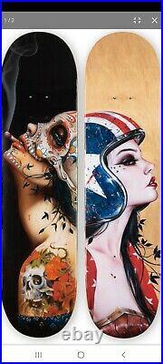RARE Viva la muerte/ American Badass Skateboard Deck Set S/N by Brian Viveros