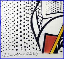 ROY LICHTENSTEIN Awesome Original Mixed Media Drawing on Paper Signed. Pop Art
