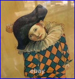 R. DIEBMANN Vintage Framed Painting of Young Boy as Harlequin Pierrot Clown