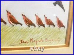 Rare Susi Nagoda Bergquist Original Native American Painting Coyote Eagle Turkey
