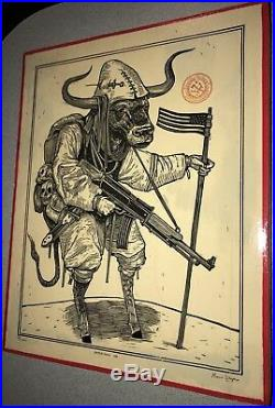 Ravi Zupa American Ox Mixed Media on Wood Signed withCOA