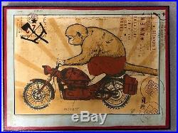 Ravi Zupa Arna Miller Mixed Media on Wood. Monkey Motorcycle. 12 x 9