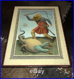 Ravi Zupa Whipping Original Mixed Media on Wood Signed +COA SALE