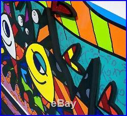 Romero Britto Follow Me Baby 2015 Hand Signed 3d Mixed Media Custom Framed