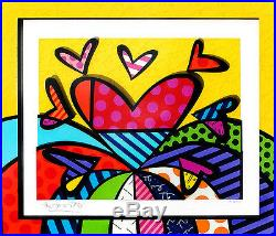 Romero Britto Heart 3D Mixed Media Construction Relief Sculpture Signed Painting