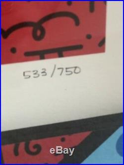Romero Britto Soaring Hearts 3-D Hand Signed #557/750 Mixed Media