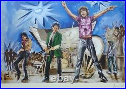 Ronnie Wood Bigger Bang Blue Hand Signed Rolling Stones Mixed Media