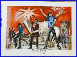 Ronnie Wood Bigger Bang Red Hand Signed Rolling Stones Framed Mixed Media