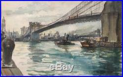 Rosemary Thurber Mixed Media Brooklyn Bridge New York 1931 Listed Fantastic