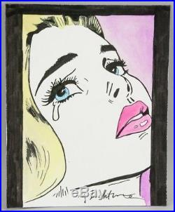 Roy Lichtenstein Original Tearful Crying Mixed Media, Signed On Art & Verso