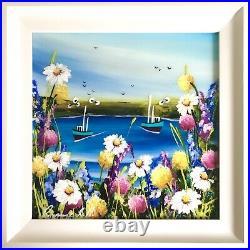 Rozanne Bell Fishing Boats (30cm x 30cm) (Original Framed)