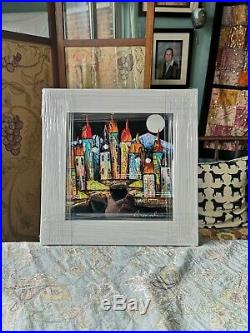 Rozanne Bell painting'Moonbeam' Original framed, 9.5ins X 9.5ins