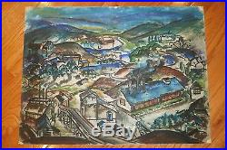 Rural Industrial Landscape Mixed Media Painting-1950s-Armando Sozio