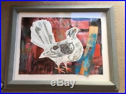 SCARCE -MARK HEARLD Rooftop Pigeon ORiGINAL Mixed Media Collage, SIGNED 2012