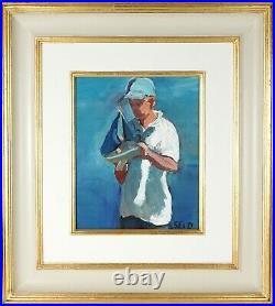 SHERREE VALENTINE DAINES (b1959) BOY & SAILING BOAT, ORIGINAL MIXED MEDIA SIGNED