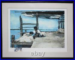 STEPHEN SCOTT YOUNG-FL Realist-Signed WC Remarque & LIM. ED Print-Bahamas/Fishing