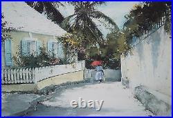 STEPHEN SCOTT YOUNG-FL Realist-Signed WC Remarque & LIM. ED Print-Bahamas Street