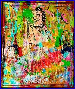 SUPERHERO KISS MIXED MEDIA PAINTING FRAMED MR CLEVER ART mr brainwash banksy DC
