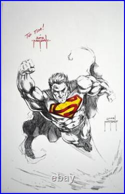 SUPERMAN ORIGINAL ART / MIXED MEDIA SKETCH Signed artist Jason Metcalf