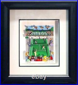 S/O Tennis Love Charles Fazzino 3D Pop Art Serigraph Print FRAMED Sports Game