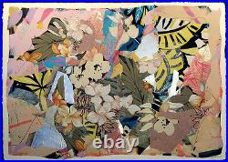 Sally Anderson Signed Original Mixed Media Painting Collage, orchids, MAKE OFFER