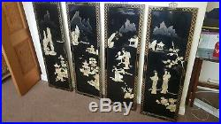 Set Of 4 Mother Of Pearl Laquer Work Oriental Framed Wall Decor Panels