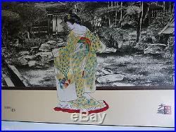 Set of 2 HISASHI OTSUKA 1996 SIGNED MIXED MEDIA 23 MATTED COA