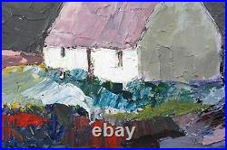 Snowdonia Cottage Painting, Winter Evening Welsh Landscape Art